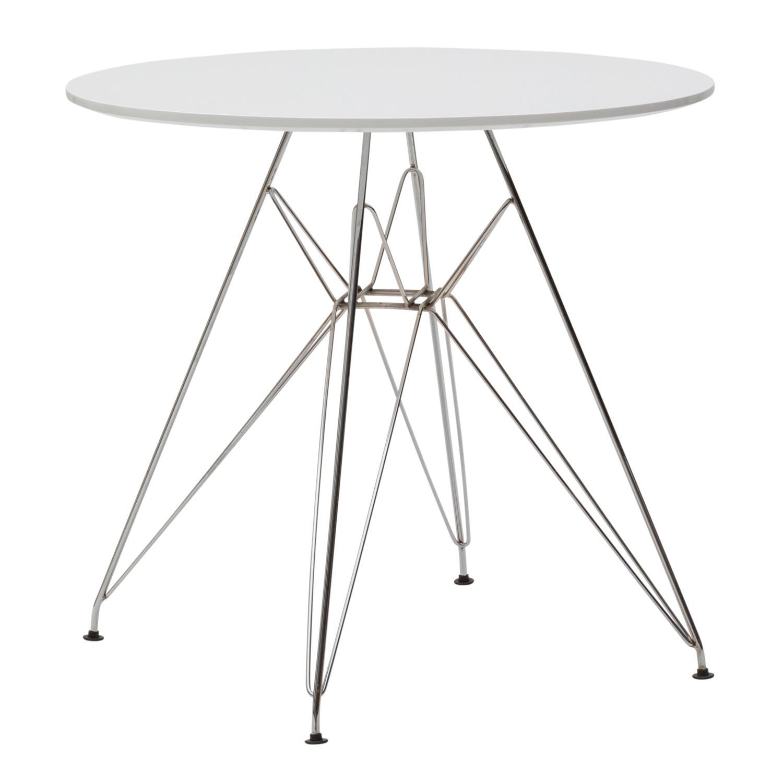 Tavolino moderno rotondo bianco con gambe in ferro for Ferro tubolare quadrato prezzo