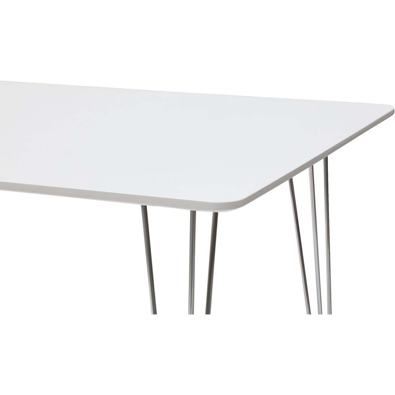 Tavolo Moderno Rettangolare Bianco Con Gambe In Ferro