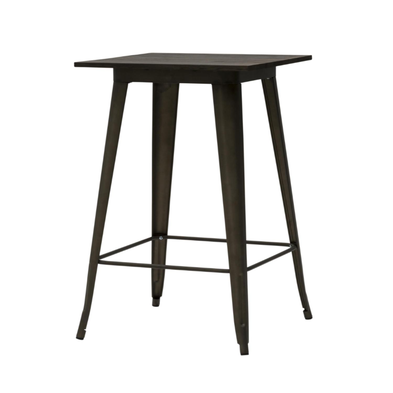 Tavolo Alto Bar Legno.Tavolo Alto Moderno Quadrato Da Bar Testa Di Moro Piano Legno