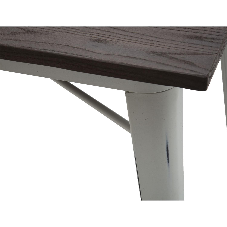 Tavolo Moderno Rettangolare da Bar Bianco Anticato Piano Legno