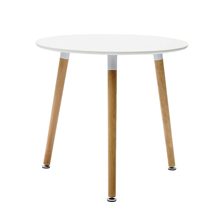 Tavolo wooden moderno mdf bianco rotondo spedizione for Tavolo moderno rotondo