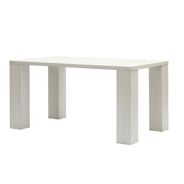 Tavolo moderno da pranzo con gambe a colonna e piano in for Tavolo rovere bianco