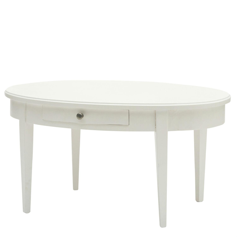 Tavolino Classico Ovale Da Soggiorno In Legno Laccato Bianco Con ...