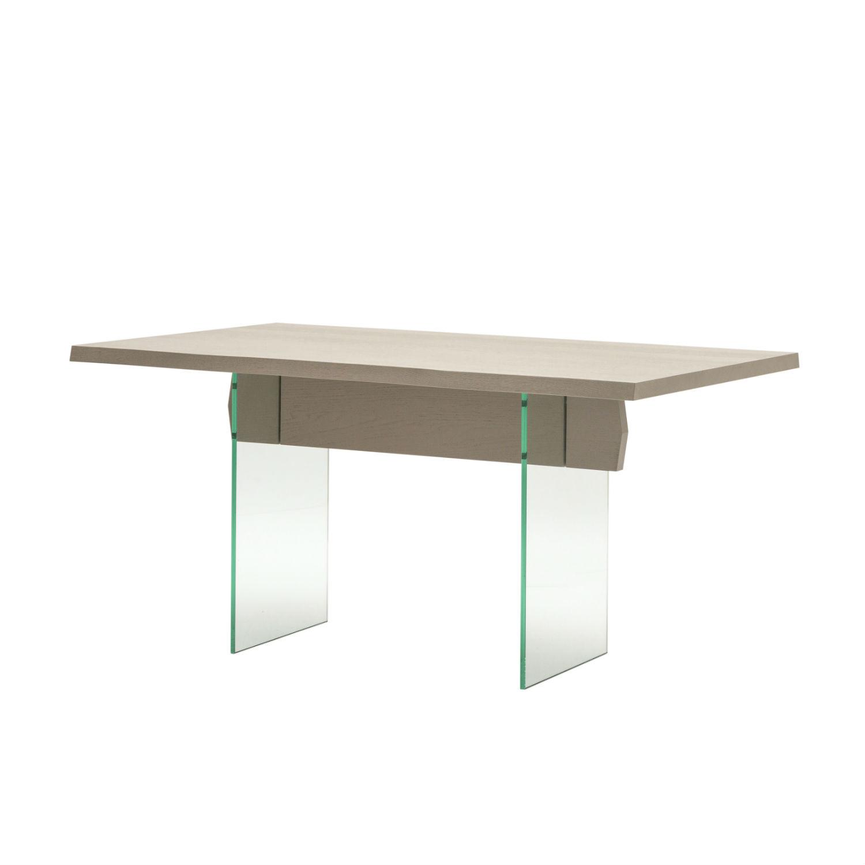 Tavolo rettangolare da pranzo con struttura e piano in for Tavolo rovere grigio