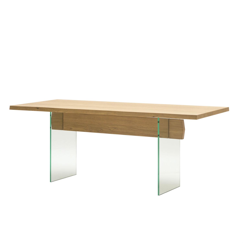 Tavolo con piano in rovere naturale e gambe in vetro 200cm - Tavolo in rovere naturale ...
