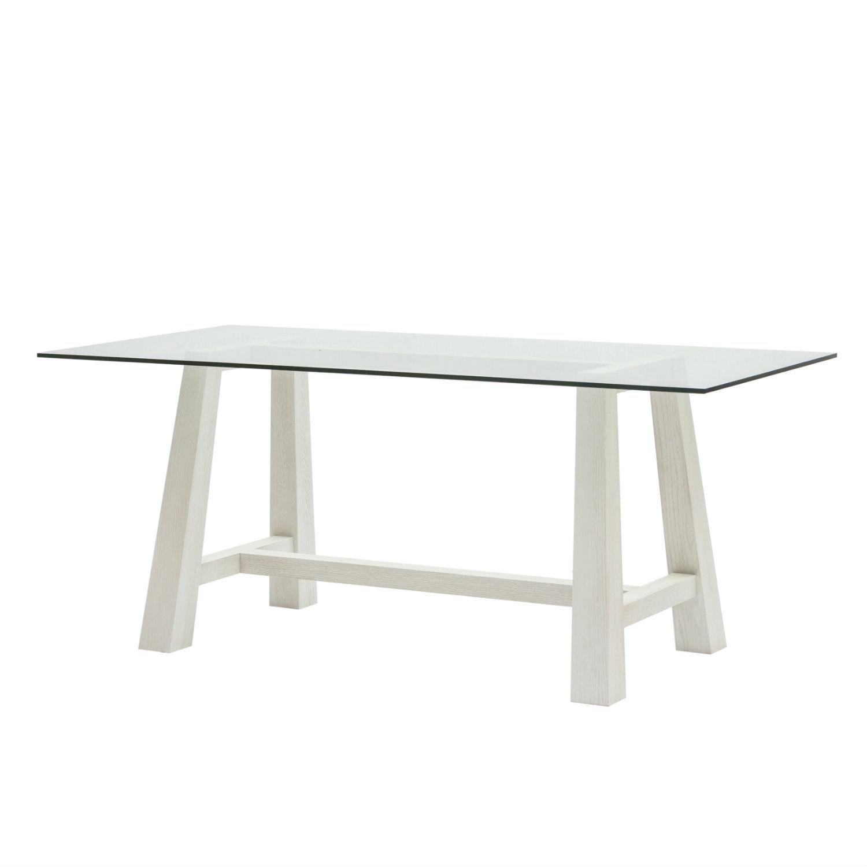 Tavolo rettangolare da pranzo con struttura in rovere bianco e piano in cristallo cm 180 - Tavolo pranzo cristallo ...