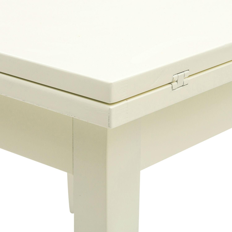 Tavolo Quadrato Shabby A Libro In Legno Laccato Bianco Cm 100x100