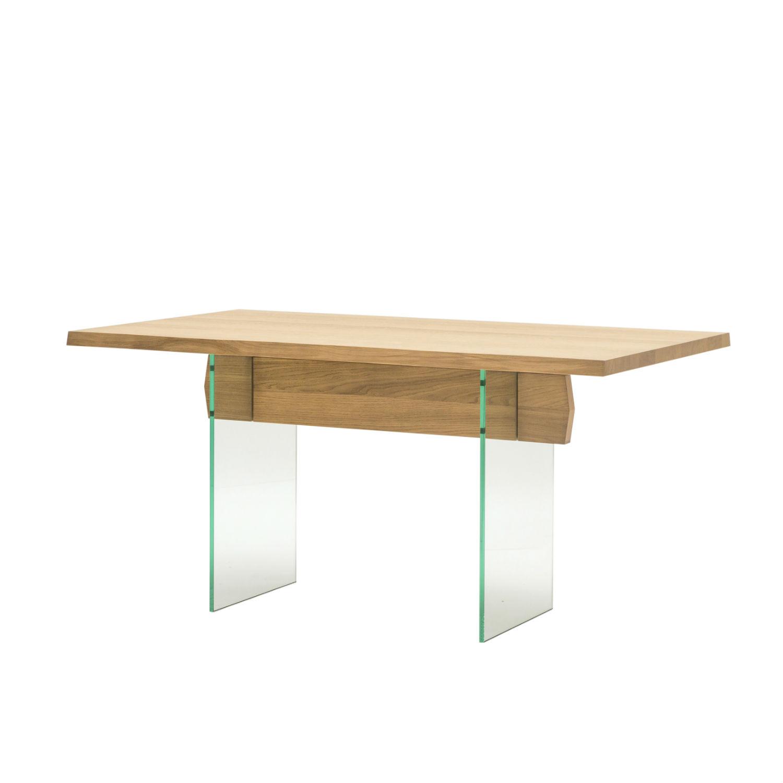 Tavolo rettangolare da pranzo con struttura e piano in rovere naturale con gambe in vetro - Tavolo pranzo vetro ...